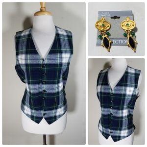 Mr. Mosbrook Plaid Vintage Women's Vest Earrings